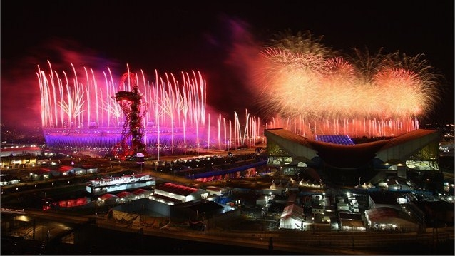 Fireworks at the London Stadium in Honor of The 2012 Olympics.