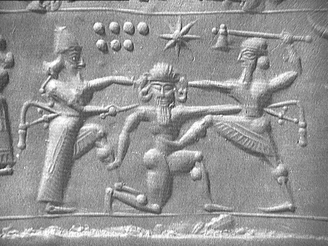Sumerian tablet depicting the defeat of the Devil