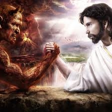Jesus arm wrestle with the Devil