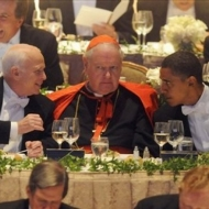 John McCain, Cardinal Edward Egan and Barack Obama
