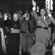 Catholic Bishops giving the Nazi salute in honor of Hitler.