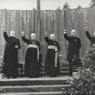 Priests giving the Hitler salute