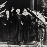 National Bishop Friedrich Coch giving a Hitler greeting in Dresden, 10 December 1933