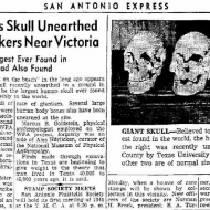 40,000 year old human-alien skull in old newspaper