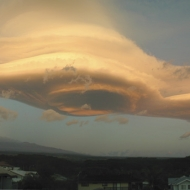 Spaceship-Cloudship, Over A town in Hawaii.