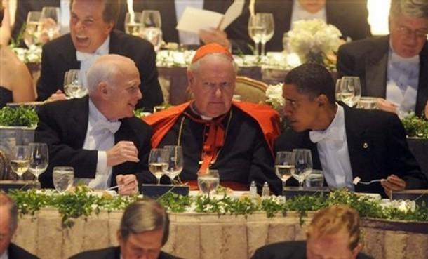 John McCain, Cardinal Edward Egan and Barack Obama