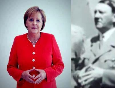 Angelina Merkel and Hitler's doing masonic signs