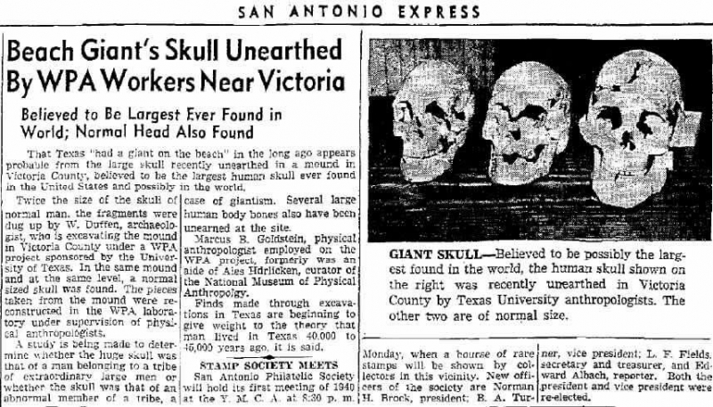 40,000 year old human-alien skull in old newspaper