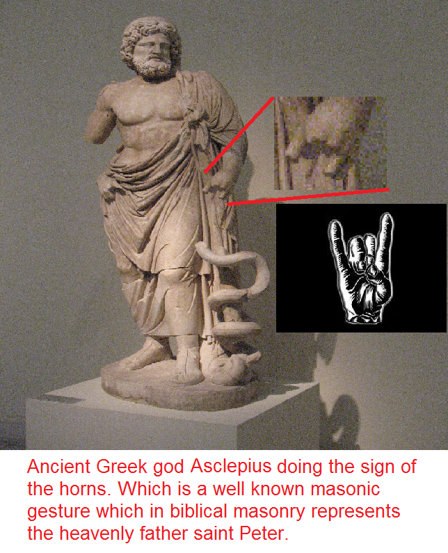 Ancient Greek god Asclepius doing the sign of the horns