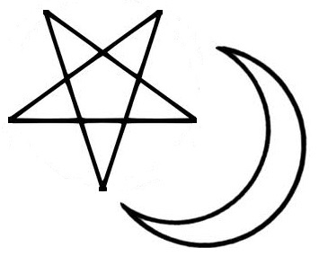 Pentacle and moon symbolises Joseph and Mary