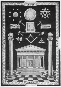 Masonic art with lower and higher interpretations