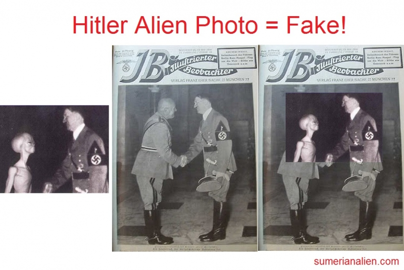 alien photo of Hitler with a grey is Fake
