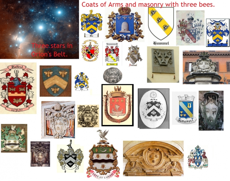 Coat of arms and masonry with symbols of ORION